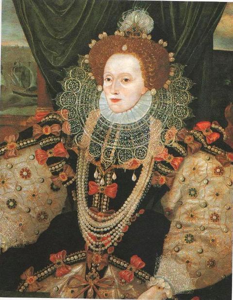 Фрагмент портрета Елизаветы на фоне Армады. 1588.
