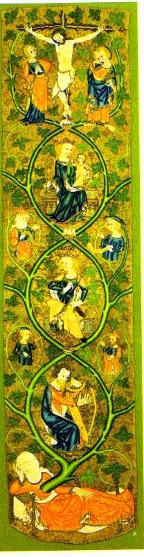 Древо Иессея, английская вышивка «opus anclicanum»  первой трети 14 столетия.