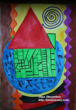 «Мой дом».  Акварель. О.Ф. Журавлева.  19 июля 2003 г.