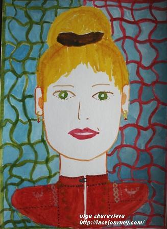 «Автопортрет». Акварель. О.Ф. Журавлева.  21 апреля 2001 года