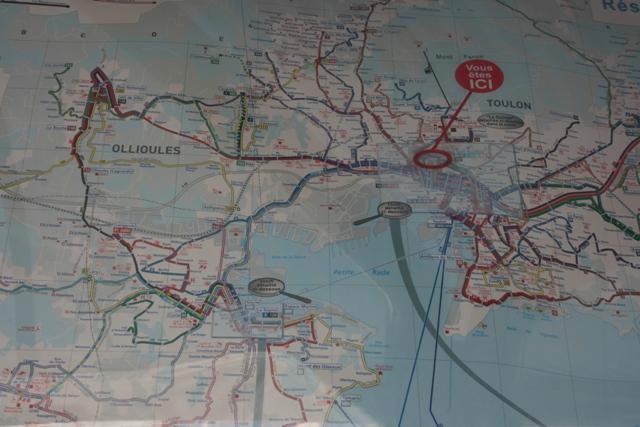 Тулонская карта маршрутов транспорта.