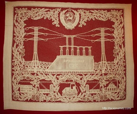 Е. Н. Грабовникова, Д. А. Смирнова. Панно «Кузьминская ГЭС». 1951. Лен, холст, кружево сцепное.