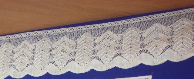 Мерное кружево «Ёлочка», многопарное плетение, х/б нити. Д. Н. Матюхина