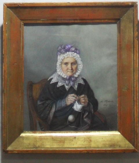 М. И. Теребенин (1795-1864) Портрет пожилой женщины с вязанием в руках. 1829 г. Бумага, акварель, гуашь. ММУ Останкино.