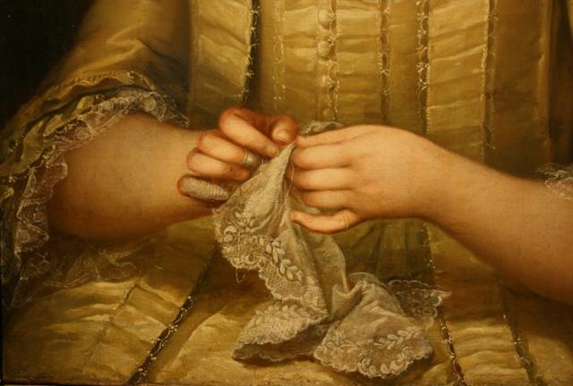 Неизвестный художник. Портрет дамы с вышиванием. Фрагмент. 1760-е. Холст, масло. ММУ «Останкино