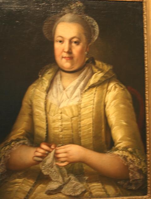 Неизвестный художник. Портрет дамы с вышиванием. 1760-е. Холст, масло. ММУ Останкино [1].