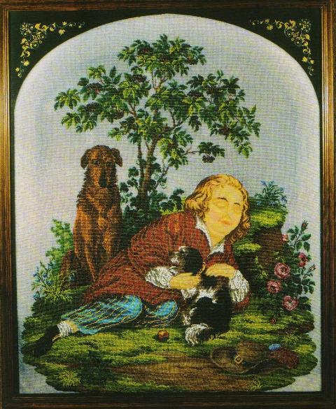 Мальчик с двумя собаками (заготовка для каминного экрана).