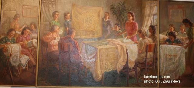 Эскиз к картине (триптих) «Вологодские кружевницы»,  1948 г. Художник Киркиж А. М.