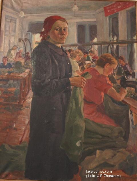 Портрет стахановки швейной фабрики Соколовой. 1942 г. Художник Ширякин Н. М. (1885 -1952).