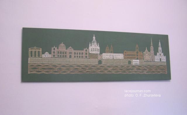 Панно «800 лет Дрездену».  Создано кружевницами Саксонии в 2006 г.