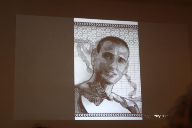 Пьер Фуше (Pierre Fouché, 1977, Претория, Южная Африка).  Портрет друга Нарди. 2009-2012. Коклюшечное плетение, 57 х 40 см.