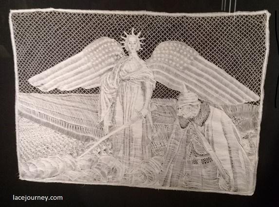 """Панно «Америка вступает в войну» (анг. """"America enters the war""""). Louise Liénaux – Vergauwe, Бельгия. 1917-1918."""
